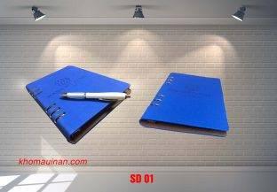 Sổ da màu xanh hở còng- SD01