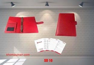 Sổ da còng màu đỏ có tai sáng tạo- SD10