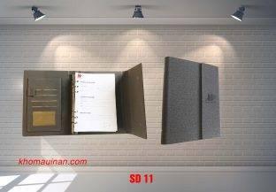 Sổ Da Màu Ghi ( Giả vải) Còng Có Tai Cạnh – SD11